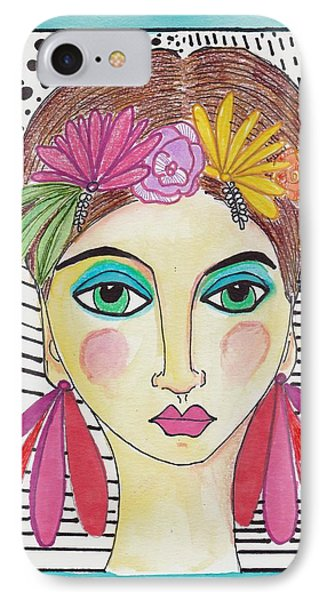 Folk Girl Pattern IPhone Case