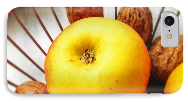 Food Still Life - Yellow Apple And Brown Walnuts - Beautiful Warm Colors IPhone Case