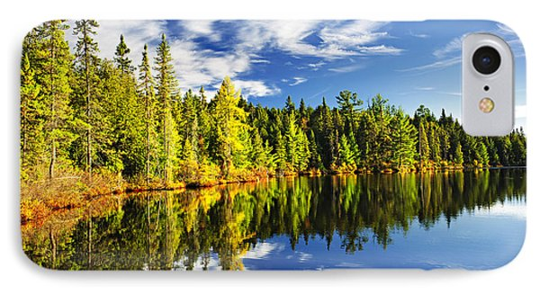 Landscapes iPhone 8 Case - Forest Reflecting In Lake by Elena Elisseeva