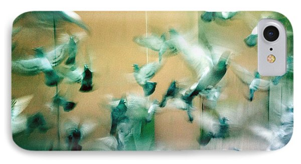 Frantic Wing Beats - Many Scared Pigeons IPhone Case