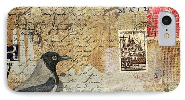 French Bird Postcard IPhone Case