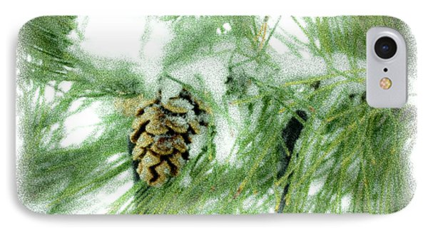 Frosty Pine Cone IPhone Case