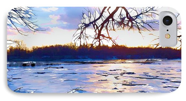 Frozen Delaware River Sunset IPhone Case