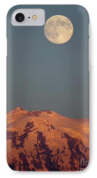 Full Moon Over Mount Rainier IPhone Case