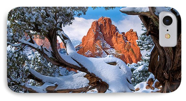 Garden Of The Gods Framed By Juniper Trees IPhone Case