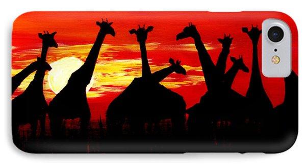 Giraffes Sunset Africa Serengeti IPhone Case