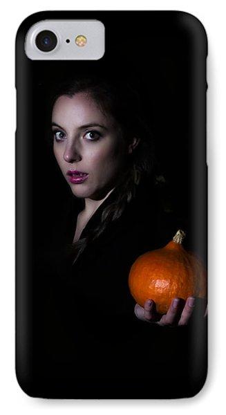 Girl Holding A Pumpkin In The Dark IPhone Case