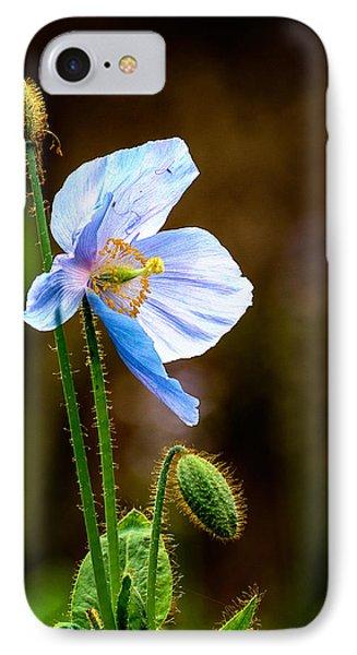 Glowing Blue Poppy IPhone Case