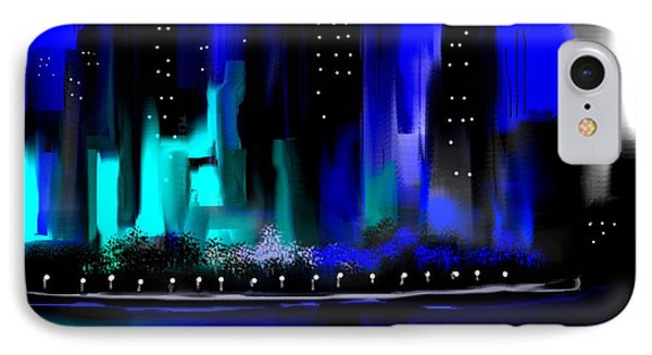Glowing City In Blue And Aqua IPhone Case