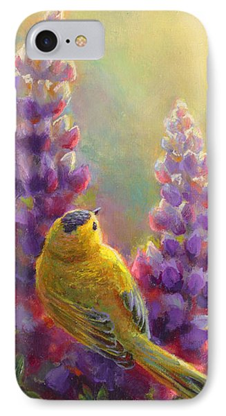Golden Light 1 Wilsons Warbler And Lupine IPhone Case