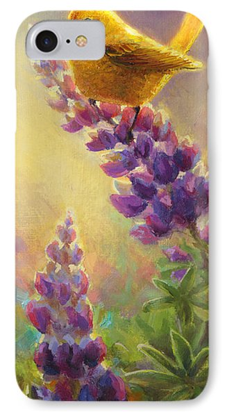 Golden Light 2 Wilsons Warbler And Lupine IPhone Case