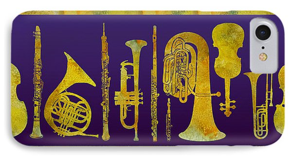 Trombone iPhone 8 Case - Golden Orchestra by Jenny Armitage