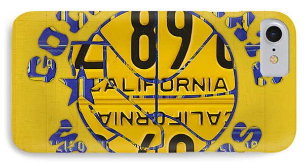 Golden State Warriors Basketball Team Retro Logo Vintage Recycled California License Plate Art IPhone Case