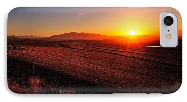 Golden Sunrise Over Farmland IPhone Case