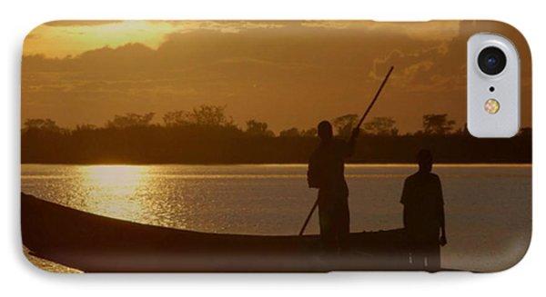 Golden Sunset Two Fishermen Enjoy The Evening After Days  Hardwork IPhone Case