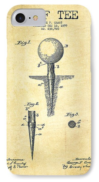 Golf Tee Patent Drawing From 1899 - Vintage IPhone Case