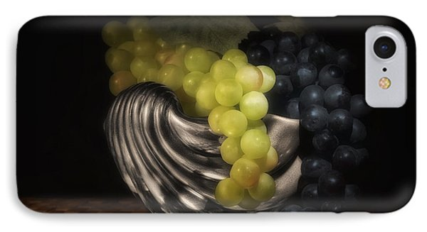 Grapes In Silver Seashell Still Life IPhone Case