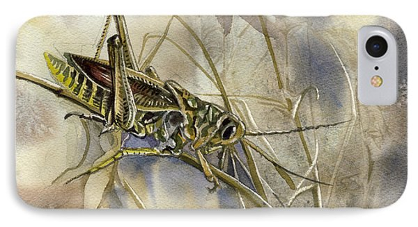Grasshopper Watercolor IPhone Case