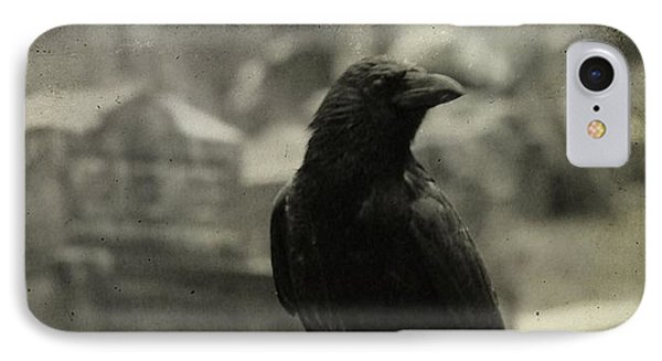 Gray Rainy Day Raven In Graveyard IPhone Case