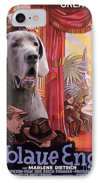 Great Dane Art Canvas Print - Der Blaue Engel Movie Poster IPhone Case