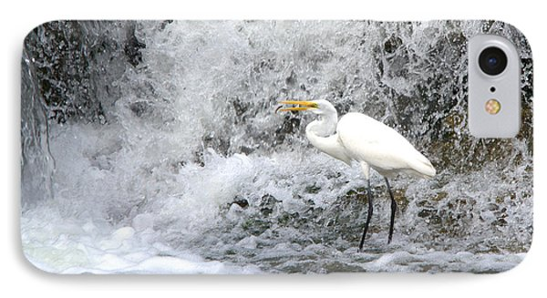 Great Egret Hunting At Waterfall Series 1 IPhone Case