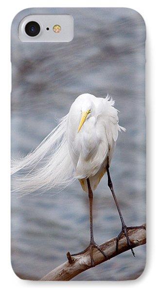 Great Egret Windy Portrait IPhone Case