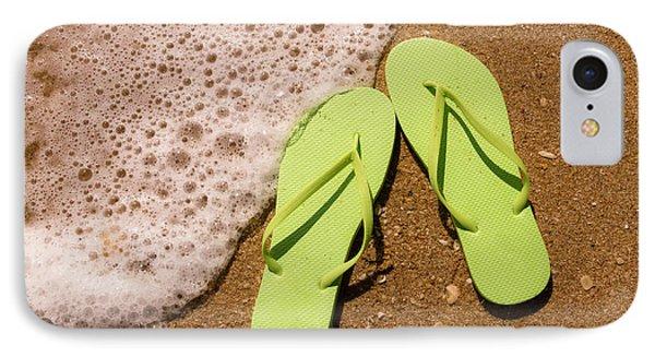 da5d183af4de The Flop iPhone 8 Case - Green Flip Flops On The Beach by Teri Virbickis