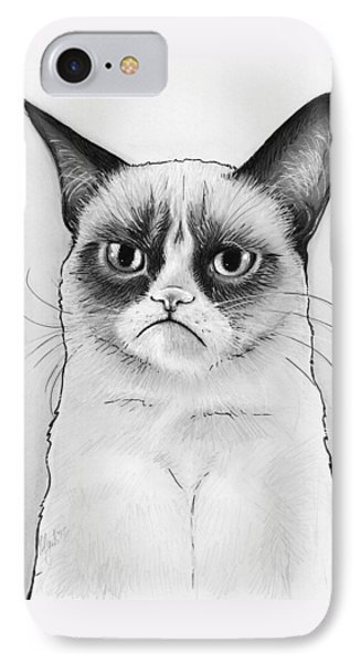 Cat iPhone 8 Case - Grumpy Cat Portrait by Olga Shvartsur