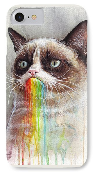 Grumpy Cat Tastes The Rainbow IPhone Case