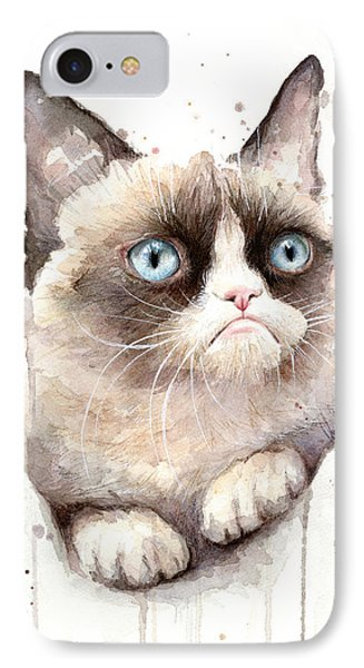 Print iPhone 8 Case - Grumpy Cat Watercolor by Olga Shvartsur