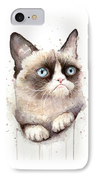 Cat iPhone 8 Case - Grumpy Cat Watercolor by Olga Shvartsur