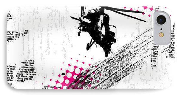 Helicopter iPhone 8 Case - Grunge Vector Background Illustration by Elanur Us
