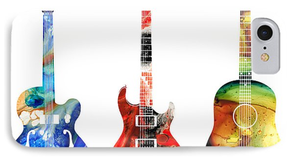 Print iPhone 8 Case - Guitar Threesome - Colorful Guitars By Sharon Cummings by Sharon Cummings
