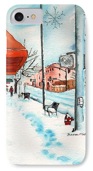 Gurley Street Prescott Arizona On A Cold Winters Day Western Town IPhone Case