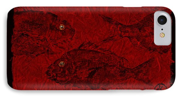 Gyotaku Scup Series 3  Red Unryu Paper IPhone Case