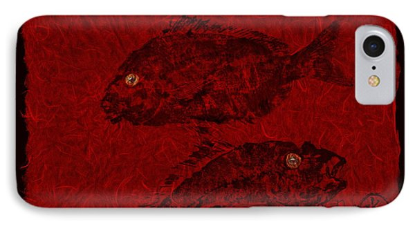 Gyotaku Scup Series 4 Red Unryu Paper IPhone Case