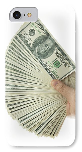 Hand Holding 100 Us Dollar Banknotes IPhone Case