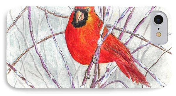 Happy Holidays Snow Cardinal IPhone Case
