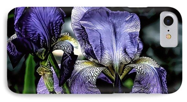 Heirloom Purple Iris Blooms IPhone Case
