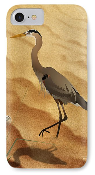 Heron On Golden Sands IPhone Case