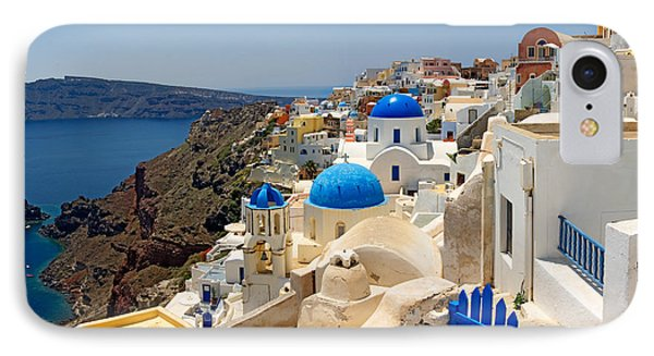 High Angle View Of A Church, Oia IPhone Case