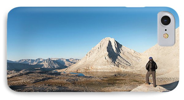 Knit Hat iPhone 8 Case - Hiker Looking Over Royce Lakes by Josh Miller Photography