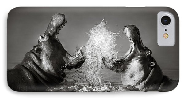 White iPhone 8 Case - Hippo's Fighting by Johan Swanepoel