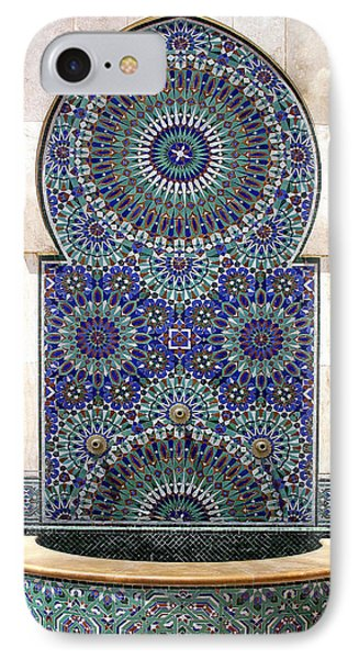 Holy Water Fountain Hassan II Mosque Sour Jdid Casablanca Morocco  IPhone Case
