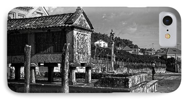 Horreo And Cruceiro In Galicia Bw IPhone Case