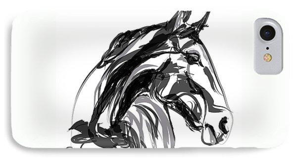 Horse- Apple -digi - Black And White IPhone Case