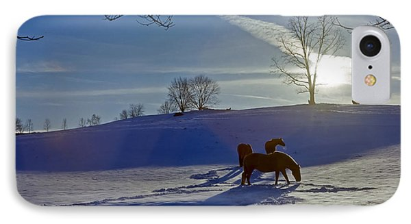 Horses In Snow IPhone Case