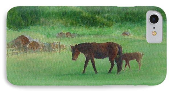 Horses Rural Pasture Western Landscape Original Oil Colorful Art Oregon Artist K. Joann Russell IPhone Case