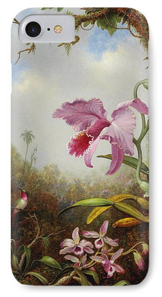 Orchid iPhone 8 Case - Hummingbird And Two Types Of Orchids by Martin Johnson Heade