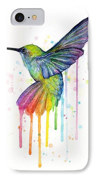 Print iPhone 8 Case - Hummingbird Of Watercolor Rainbow by Olga Shvartsur